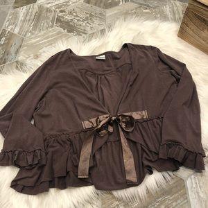 Motherhood brown ribbon tie short cardigan XL